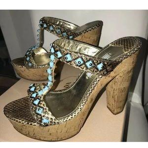 Prada Leather Turquoise Jeweled Sandals Size 7.5